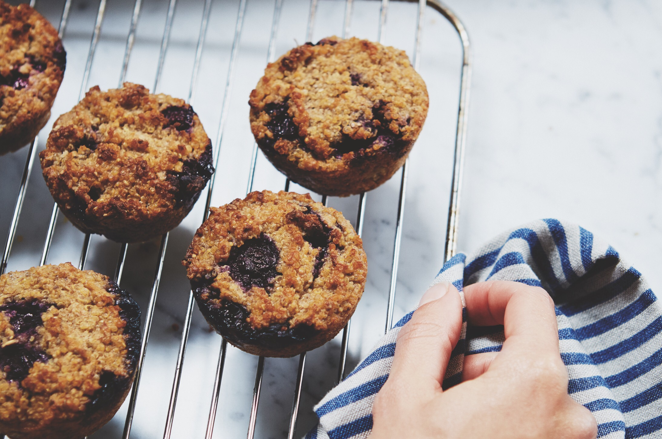 Blueberry and quinoa muffins