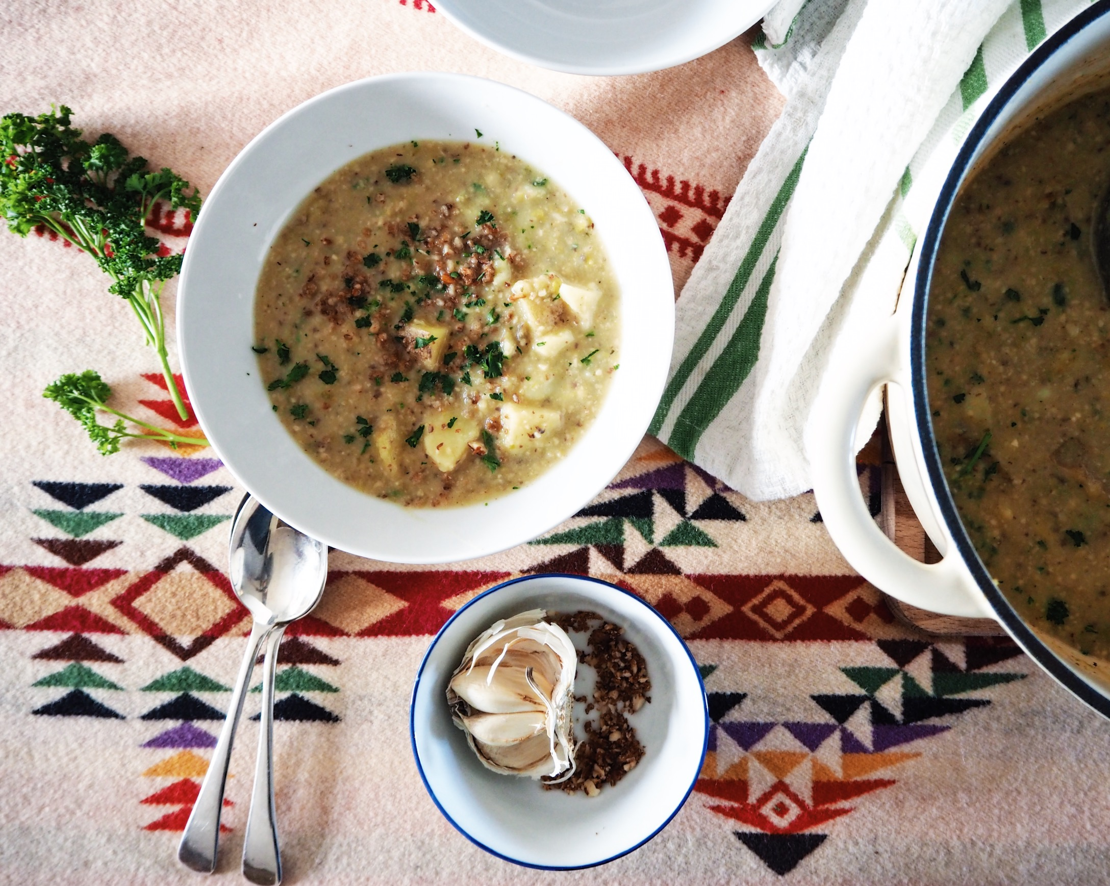Saffron spiced potato, leek and almond soup | The Naturalista